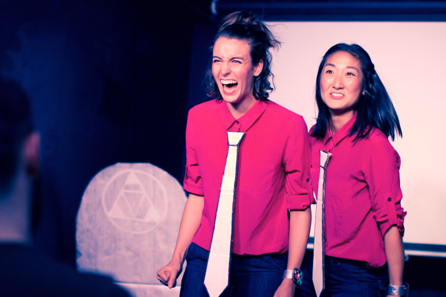 "Comedy duo SJ and Ginny in ""Great Gig: A Corporate Training For Business"" (Credit: Zach Kelly)"