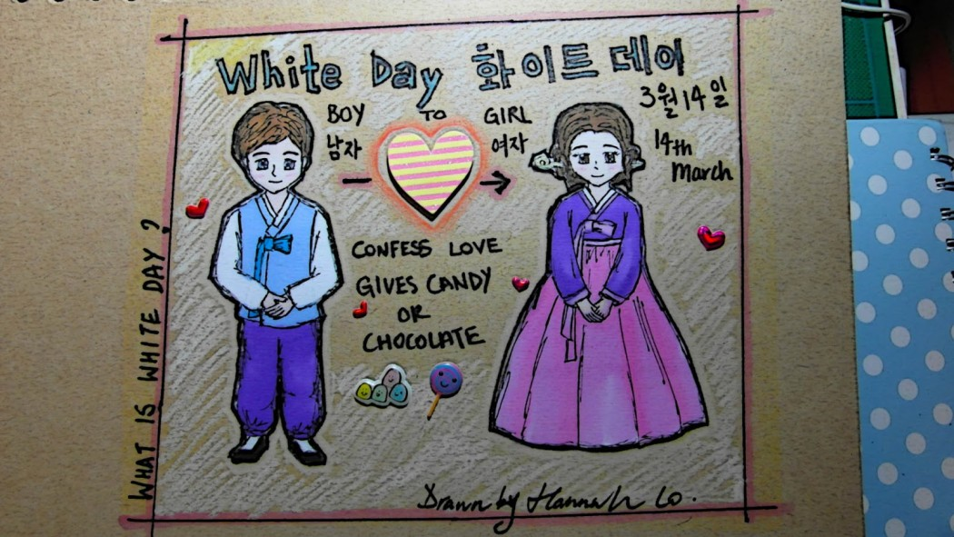 A sketch showing how White Day works in Korea