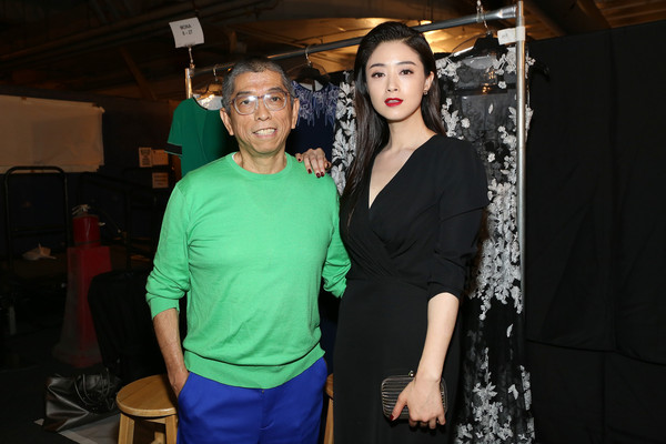Shoji with actress Tian Hai Rong backstage last year during NYFW (Credit:Monica Schipper)