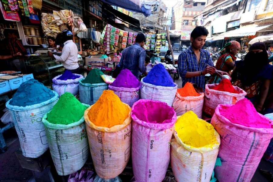 Powdered colors are displayed in India in preparation for the festival. (Photo credit: Sanjeev Gupta)